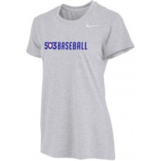 503 Baseball 06: Nike Women's Legend Short-Sleeve Training Top - Gray