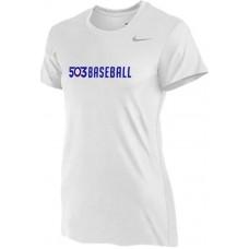 503 Baseball 03: Nike Women's Legend Short-Sleeve Training Top - White