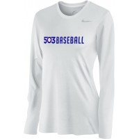 503 Baseball 09: Nike Women's Legend Long-Sleeve Training Top - White