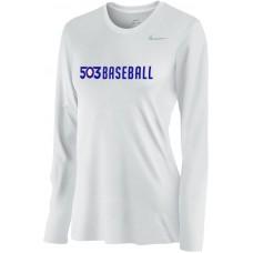 503 Baseball 09: Nike Women's Legend Long-Sleeve Training Top - White