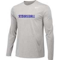 503 Baseball 11: Youth-Size - Nike Team Legend Long-Sleeve Crew T-Shirt - Gray