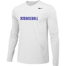 503 Baseball 07: Adult-Size - Nike Team Legend Long-Sleeve Crew T-Shirt - White