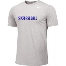 503 Baseball 04: Adult-Size - Nike Team Legend Short-Sleeve Crew T-Shirt - Gray
