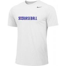 503 Baseball 01: Adult-Size - Nike Team Legend Short-Sleeve Crew T-Shirt - White